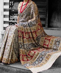 Beautiful Kalamkari Block Printed Mul Cotton Saree