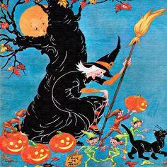 Vintage Halloween children's magazine cover witch moon black cat JOL pumpkin jack o' lantern gnome e Halloween Prints, Halloween Signs, Halloween Art, Happy Halloween, Halloween Costumes, Halloween Puzzles, Halloween Greetings, Halloween Table, Halloween Stuff