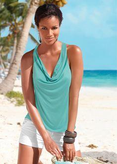 Blusa verde encomendar agora na loja on-line bonprix.de  R$ 109,00 a partir de Blusa sem mangas, com decote V e detalhe com um lindo guipir nas costas. ...