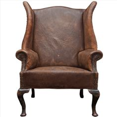 Oversized English Leather Wingback Chair