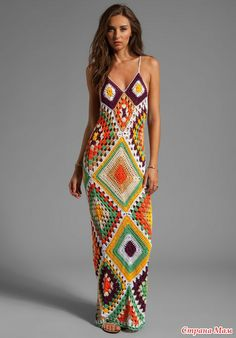 Outstanding Crochet: Indah Syra Crochet Maxi Dress In Tan. An amazing Granny square dress! No pattern, but a big inspiration! Crochet Beach Dress, Knit Dress, Crochet Dresses, Dress Beach, Dress Pants, Dress Skirt, Mode Crochet, Knit Crochet, Crochet Granny