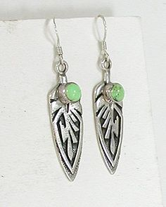 uthentic Native American sterling silver and Gaspeite wire earrings by Navajo artist Ervin Hoskie