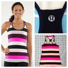 "Lululemon Extra long Racerback tank Color - pow stripe raspberry/glow light plum/ inkwell. 4-way stretch Luon. Excellent used condition. 17"" pit to pit. No rips, stains or pilling. No trades. No PayPal. lululemon athletica Tops Tank Tops"