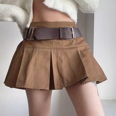 Pleated Mini Skirt, Mini Skirts, Red Tank Tops, Brown Skirts, Silhouette, Streetwear, Summer Wear, Summer Outfits, Preppy Style