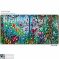 @Regrann_App from @rpenze -  Olá pessoal, ando sumida, porém ando trabalhando em vários projetos, as mãos e a criatividade não pára um segundo sequer... Quero hoje compartilhar com vcs um trabalho especial que fiz no Livro de Colorir Magical Jungle da nossa querida Johanna Basford, foram dias trabalhando nessa arte, usei aquarelas, lápis aquareláveis e canetas gel e posca. Um grande beijo a todos e boas cores pra vcs. Quem não tem o Livro  importado , que é indicado para técnicas úmidas pode…