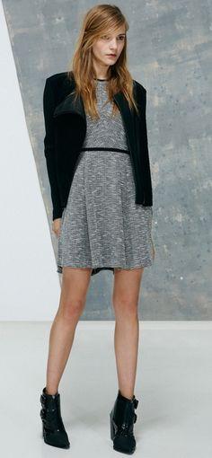 f92629b01 Tibi Tweed Knit Sleeveless Flared Dress in Gray (black/white multi) - Lyst