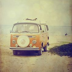 Beach Wagon - 8x8 surf photo, VW Volkswagon Kombi van, orange, summer, surfing, vintage, retro, fine art print. Buy one get one free sale.