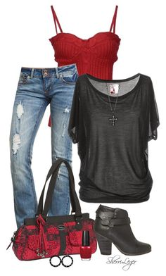 """""""Untitled #493"""" by sherri-leger ❤ liked on Polyvore featuring moda, GUESS, Donna Sharp, rag & bone, Betsey Johnson y OPI"""