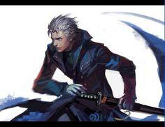 capcom devil_may_cry dmc:_devil_may_cry drawing_sword katana letterboxed ready_to_draw sword vergil_(dmc:_devil_may_cry) weapon white_hair Devil May Cry 4, Rwby, Hideki Kamiya, Vergil Dmc, D D Characters, Shinigami, Manga Games, Marvel Dc, Anime Guys