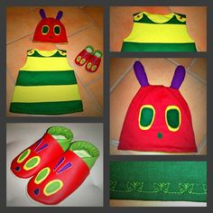 Super cute costume for the caterpillar Nimmersatt # costumes - Craft Diy Book Character Costumes, Book Day Costumes, Cute Costumes, Carnival Costumes, Halloween Fabric Crafts, Christmas Fabric Crafts, Halloween Kids, Caterpillar Costume, Hungry Caterpillar Party