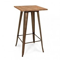 Rustic Teak Top Tolix Style High Table | Bistro Tables | Cult UK