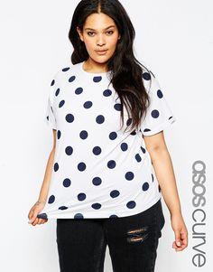 ASOS CURVE Easy T-Shirt in Spot Print