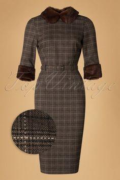 Collectif Clothing Christiane Faux Fur Trim Pencil Dress 18935 20160531 modelbcw