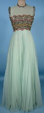 c. 1968 PIERRE BALMAIN, Paris Aqua Silk Chiffon Gown over White Foundation with Heavily Beaded Bodice