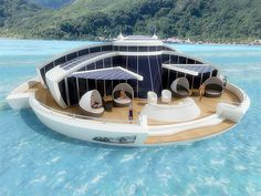 Solar powered floating resort           has designed completely self-sufficient floating resort that is part hotel, part yacht, and part submarine. Guests of the solar powered luxury resort will stay in comfortable hotel rooms with private bathrooms. Fully submerged observation room with thick glass enclosure will provide panoramic views of the ocean and allow people to take beautiful photos.
