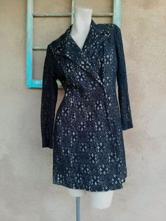 Vintage 1960s Dress Black Illusion Lace Mini Coat Dress US8 B39 W35 2013664 - pinned by pin4etsy.com