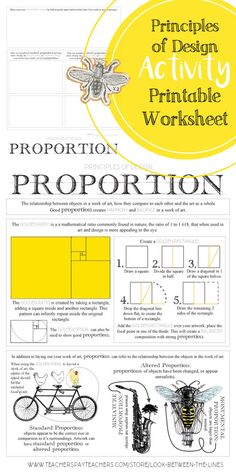 I use my principles of design worksheets in my Introduction to Art class every year. This worksheet covers the principle of design proportion. #principlesofdesign #proportion #artedu #TPT #artteacher