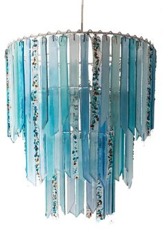 Fountain Aqua slate blue teal recycled glass 3 tier chandelier