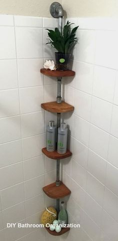 30 Creative Storage Ideas for Small Spaces you need today - HARP POST Intelgent Small Bathroom Storage and Organization Ideas Small Bathroom Organization, Bathroom Hacks, Organization Ideas, Bathroom Storage Diy, Bathroom Renovations, In Shower Storage, Remodel Bathroom, Small Bathroom Shelves, Organized Bathroom