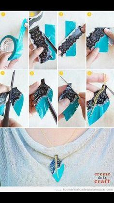 Crea tu propio collar usando encaje y cinta adhesiva: