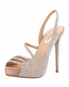 Strass Platform Slingback Evening Sandal by Valentino at Bergdorf Goodman. Pretty Shoes, Beautiful Shoes, Awesome Shoes, Bridal Shoes, Wedding Shoes, Hot Shoes, Shoes Heels, Evening Sandals, Pumps
