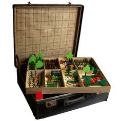 Vintage German Wood Play Set - love the idea of storing the wood toys in an old suitcase