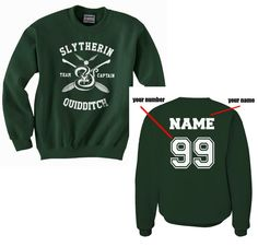 CAPTAIN Custom name and number on back Slytherin by Dreambigzz