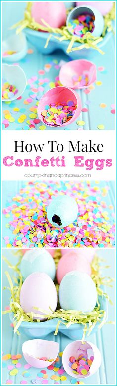How to make confetti eggs. DIY confetti eggs (cascarones) are great for parties and to celebrate Easter and Cinco de Mayo. Cute Easter Bunny, Hoppy Easter, Easter Eggs, Easter Food, Easter Table, Confetti Eggs, Diy Confetti, Paper Confetti, Glitter Confetti
