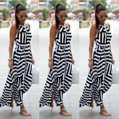 21de6b90f06 Women Sexy Summer Dress Sleeveless Maxi Long Evening Party Beach Dress  Sundress Size S-XL