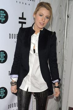 Blake Lively in studded leather pants with blazer ♥