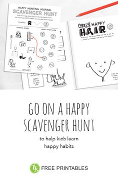 with the FREE Scavenger Hunt activity kids find and match the happy habits within the Journal! / zenteredkids.com Play N Go, Kids Learning, Activities For Kids, Encouragement, Hunting, To Go, Journal, Feelings, Happy