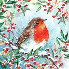 Christmas Bird, Country Christmas, Winter Christmas, Vintage Christmas, Christmas Stuff, Greeting Card Companies, Winter Illustration, Robin Bird, Butterfly Art