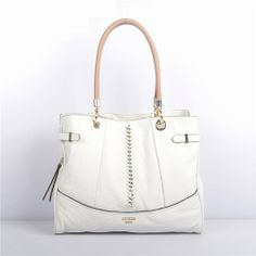 Guess White Shoulder Bag with Woven Chain Detail - New Arrival Guess Handbags-Campaign Categories - TopBuy.com.au