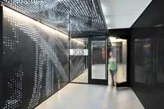 For both lobbies at Connexion Burbank, a two-building office complex in California, Patrick Tighe Architecture CNC-cut steel panels and backed them with LEDs sandwiched between ...
