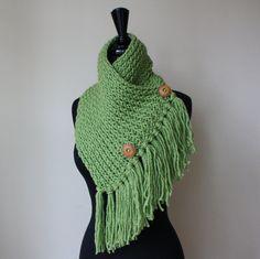 Bandana Scarf with Fringe in Fern Green by NicoleandMom on Etsy, $35.00,