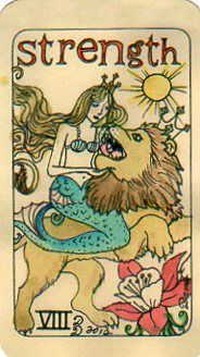 """If you can't run, you crawl. If you can't crawl-- you find someone to carry you."" ~Joss Whedon    Sometimes you are going to be the one who is carrying someone who just can't anymore, and sometimes you are going to need to be carried.  No shame in either, only compassion.    This is Strength from Dame Darcy's Mermaid Tarot, self published at etsy.    www.78whispers.blogspot.com"