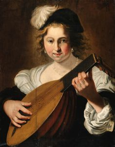 Christiaen van CouwenberghA lady playing a lute