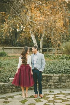 Love her marsala tulle skirt for the engagement photos. | mysweetengagement.com
