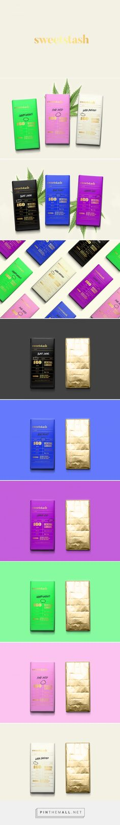 Branding and packaging design for SweetStash on Behance by Sarah Gwan Toronto, Ontario curated by Packaging Diva PD. Colorful concept packaging for medical cannabis. Clever name.