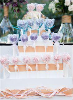 Simple cake pop display  - wrapped styrofoam cake forms.