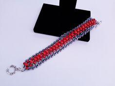 Natural Red Coral Bracelet, Beaded Bracelet, Beadwork Bracelet - pinned by pin4etsy.com