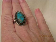 Estate Vintage Navajo Style Sterling Silver Sleeping Beauty Turquoise Ring Sz 7