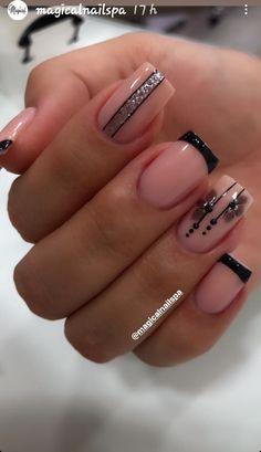 Cute Nail Colors, Cute Nails, Pretty Nails, Cute Nail Designs, Acrylic Nail Designs, Classy Acrylic Nails, Lines On Nails, Elegant Nails, Gorgeous Nails