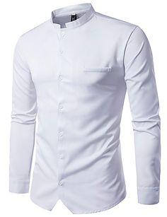 Masculino Camisa Social Casual Moda de Rua Sólido Poliéster Colarinho Chinês Manga Longa de 6072107 2017 por R$41,83