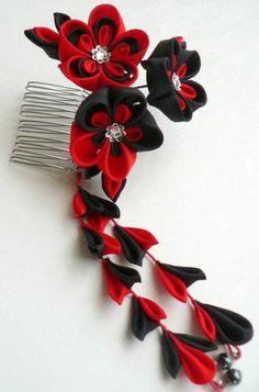 Lava Fabric Flower Hair Comb Kanzashi Made To by MizuSGarden