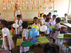 op een schooltje in Sri-Lanka