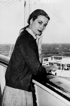 Grace Kelly aboard the SS Constitution, sailing from New York to Monaco to marry Prince Rainier III, 1956.