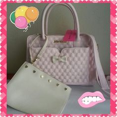 """NWT Betsey Johnson Blush Tote 2 in 1 ♥ it has removeable small bag too ♥ adjustable and removeable crossbody strap ♥ measurements 10"""" x 6.5"""" x 13.5"""" . Strap drop 5.5"""". Small bag 9.5"""" x 7"""". So so so much room ♥♥ Betsey Johnson Bags Satchels"""