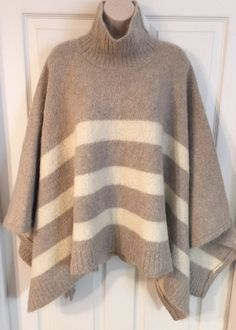 Peruvian Connection Alpaca & Wool Cape Poncho Sweater Tan & Ivory Soft One Size  | eBay