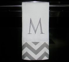 Grey and White Chevron Monogrammed Dish Towel or by DesignsByThem, $13.50